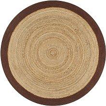 Handmade Rug Jute with Brown Border 90 cm - Brown