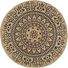 Handmade Rug Jute with Dark Blue Print 90 cm