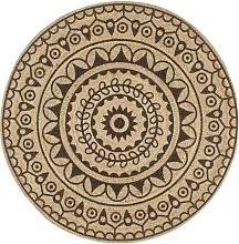 Handmade Rug Jute with Dark Brown Print 120