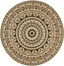 Handmade Rug Jute with Dark Brown Print 150 cm