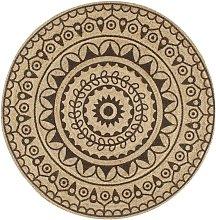 Handmade Rug Jute with Dark Brown Print 90 cm -