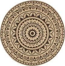 Handmade Rug Jute with Dark Brown Print 90 cm