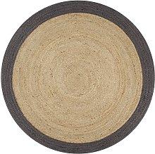 Handmade Rug Jute with Dark Grey Border 150 cm -