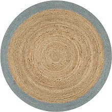 Handmade Rug Jute with Olive Green Border 120 cm -