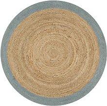 Handmade Rug Jute with Olive Green Border 150 cm -