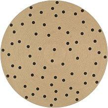 Handmade Rug Jute with Print Polka Dot 90 cm -