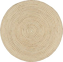 Handmade Rug Jute with Spiral Design White 120