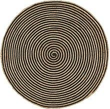 Handmade Rug Jute with Spiral Print Black 90 cm -
