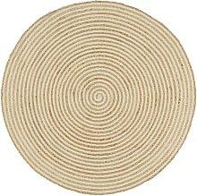 Handmade Rug Jute with Spiral Print White 120 cm -