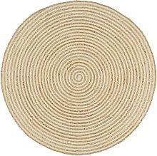 Handmade Rug Jute with Spiral Print White 90 cm -