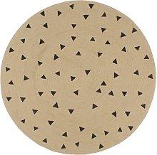 Handmade Rug Jute with Triangle Print 150 cm -