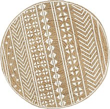 Handmade Rug Jute with White Print 150 cm - White