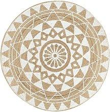 Handmade Rug Jute with White Print 90 cm - White -
