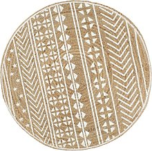 Handmade Rug Jute with White Print 90 cm