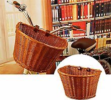 Handmade Wicker Bicycle Front Basket with Leather