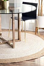 Handwoven Jute Area Rug Size - 5' Round, Color