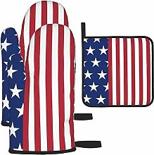 Hangdachang American Flag Cooking Gloves Heat
