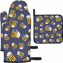 Hangdachang Beer Cartoon Pattern Oven Gloves