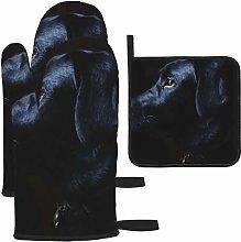 Hangdachang Black Labrador Dog Oven Mitts Gloves 2