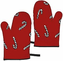 Hangdachang Christmas Candy Canes Oven Mitts Heat