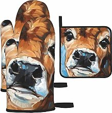 Hangdachang Cow Print Cooking Gloves Heat