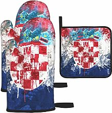 Hangdachang Croatia Flag Cooking Gloves Heat