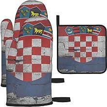Hangdachang Croatia Flag Oven Gloves Microwave