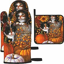 Hangdachang Fall Kittens Kitchen Oven Mitts,