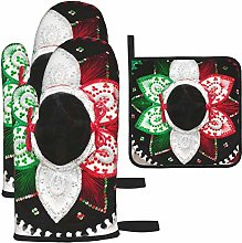 Hangdachang Flag Of Mexico Kitchen Oven Mitts,