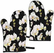 Hangdachang Floral Orchid Pattern Oven Mitts Heat