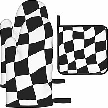 Hangdachang Lattice Flag Oven Mitts Gloves 2 Set,