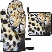 Hangdachang Oven Mitt and Pot Holder Set Non-Slip