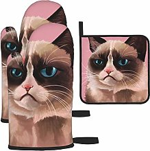 Hangdachang Pink Watercolor Cat Oven Gloves
