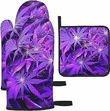 Hangdachang Purple Cannabis Leaf Oven Mitts Gloves