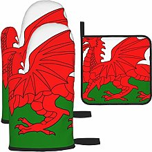 Hangdachang Welsh Dragon Flag Kitchen Oven Mitts,