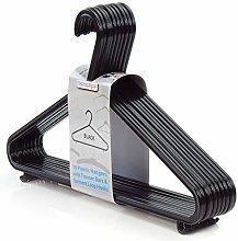 HANGERWORLD 10 black plastic hangers with trouser
