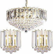 Hanging 6 Bulb Ceiling & 2X Twin Wall Light Pack |