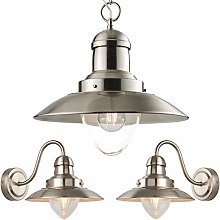 Hanging Ceiling Pendant & 2X Single Wall Light