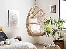 Hanging Chair Beige Rattan Ceiling-Mounted