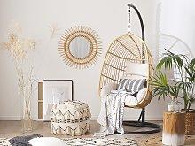 Hanging Chair Beige Rattan Metal Frame