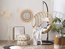 Hanging Chair Beige Rattan Round Wicker Basket