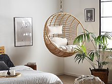 Hanging Chair Beige Rattan Round Wicker Basket without Stand with Cushions Boho