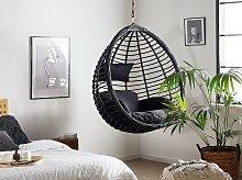 Hanging Chair Black Rattan Indoor-Outdoor