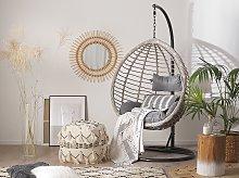 Hanging Chair Black Rattan Metal Frame