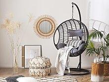 Hanging Chair Black Rattan Round Wicker Basket
