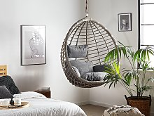 Hanging Chair Grey Rattan Ceiling-Mounted