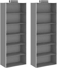 Hanging Closet Organisers 2 pcs wit6 Shelves Fabric
