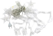Hanging Fairy 138 LEDs String Lights Curtain Lamp with Elk Christmas Tree Bell Design, Warm White