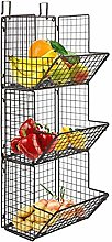 Hanging fruit basket rustic shelves Metal Wire 3