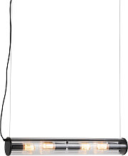 Hanging lamp black 4-lights with ribbed glass -